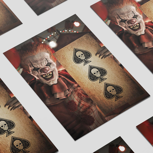 Halloween Clown with Spades A3 Poster PVC Party Sign Decoration 42cm x 30cm Product Image