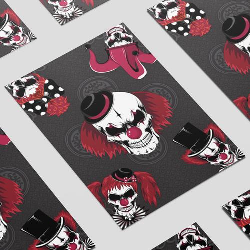 Clowns Skulls Halloween A3 Poster PVC Party Sign Decoration 42cm x 30cm Product Image