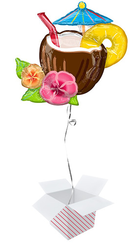 Coconut Pina Colada Helium Foil Giant Balloon - Inflated Balloon in a Box Product Image