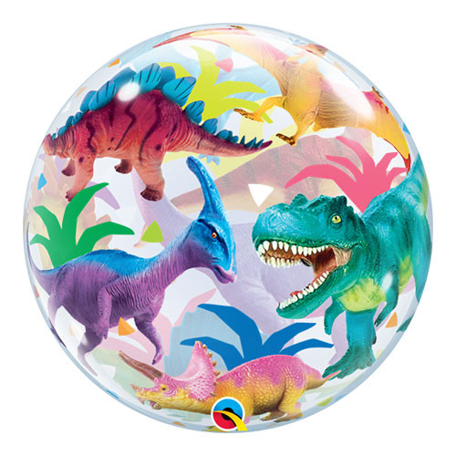 Colourful Dinosaurs Bubble Helium Qualatex Balloon 56cm / 22 in