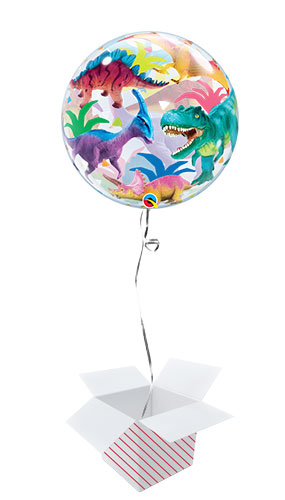 Colorful Dinosaurs Bubble Helium Qualatex Balloon - Inflated Balloon in a Box