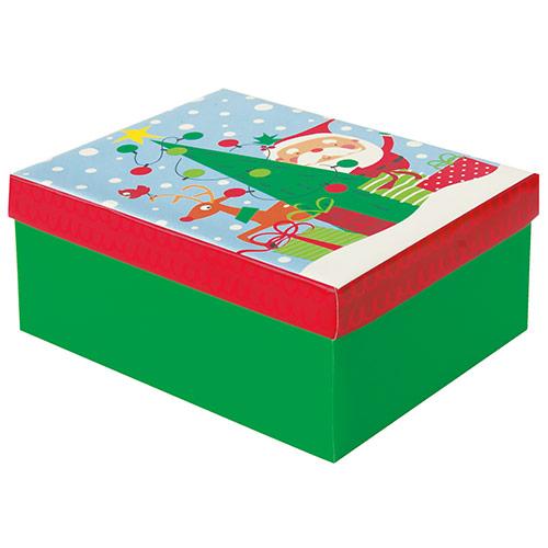 Colourful Santa Christmas Medium Gift Box 20cm Product Image