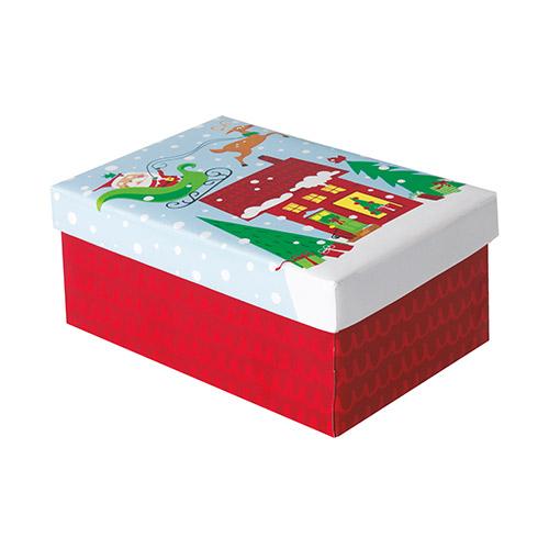 Colourful Santa Christmas Small Gift Box 17cm Product Image