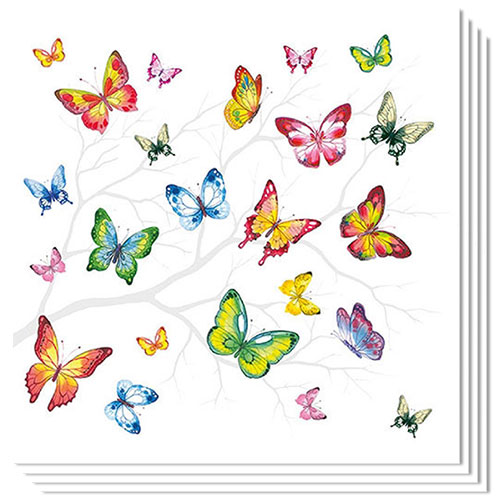 Colourful Butterflies Premium Luncheon Napkins 3Ply 33cm - Pack of 20 Product Image