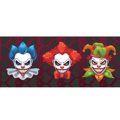 Colourful Clowns Halloween PVC Party Sign Decoration 60cm x 25cm