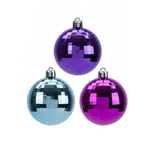 Colourful Disco Baubles Christmas Tree Decorations 4cm - Pack of 8 Product Image