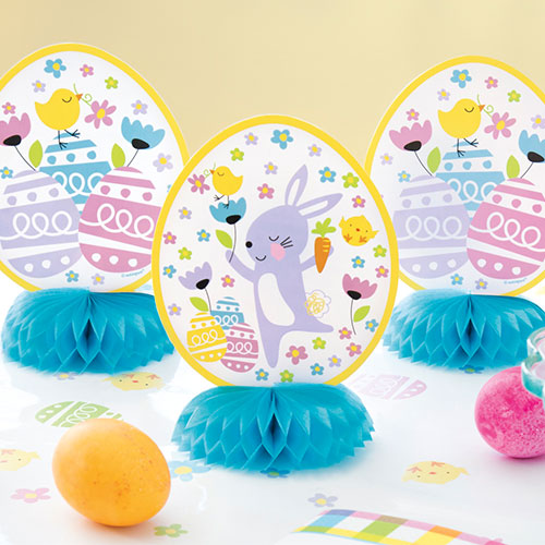 Colourful Easter Honeycomb Centrepieces Table Decorations 15cm - Pack of 3