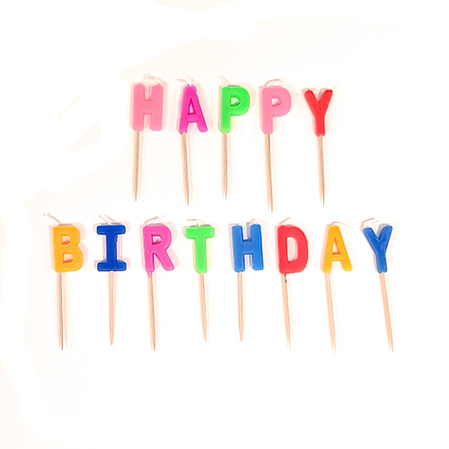 Colourful Happy Birthday Pick Candles 8cm