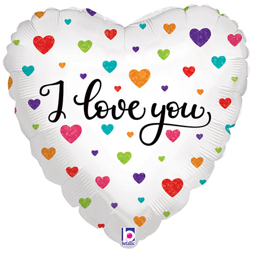 Colourful Hearts I Love You Holographic Foil Helium Balloon 46cm / 18Inch Product Image