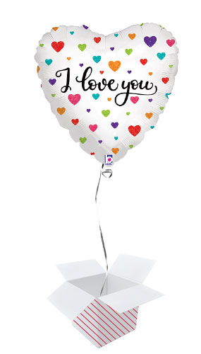 Colourful Hearts I Love You Holographic Foil Helium Balloon - Inflated Balloon in a Box Product Image