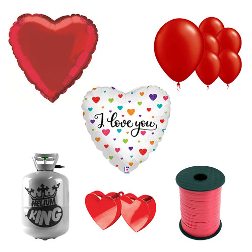 Colourful Hearts I Love You Valentine's Day Small Helium Gas Package With Balloons