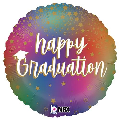 Colourful Rainbow Happy Graduation Round Foil Helium Balloon 46cm / 18 in