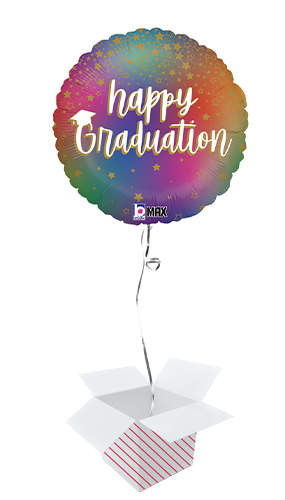 Colourful Rainbow Happy Graduation Round Foil Helium Balloon - Inflated Balloon in a Box Product Image