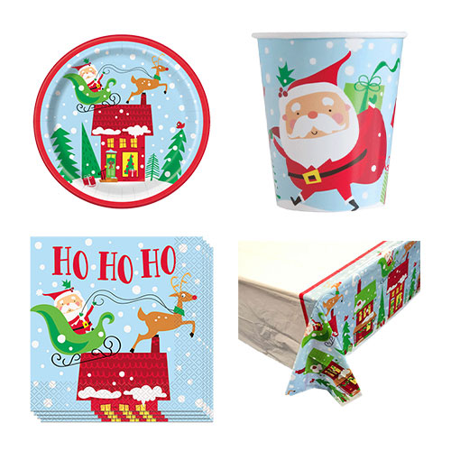 Colourful Santa Christmas 8 Person Value Party Pack