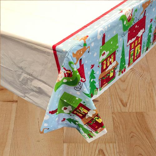 Colourful Santa Christmas Plastic Tablecover 213cm x 137cm Bundle Product Image