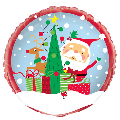 Colourful Santa Christmas Round Foil Helium Balloon 46cm / 18 in Product Image