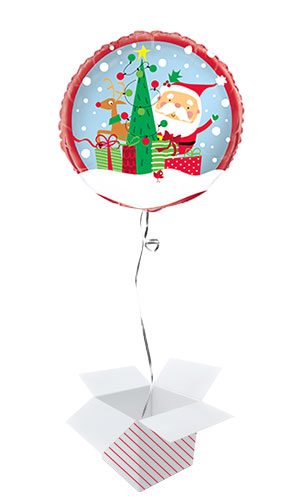 Colourful Santa Christmas Round Foil Helium Balloon - Inflated Balloon in a Box Product Image