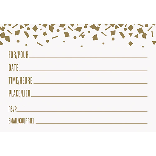 Confetti Gold Birthday Invitations with Envelopes - Pack of 8 Product Gallery Image