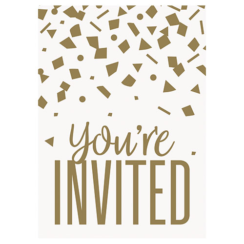 Confetti Gold Birthday Invitations with Envelopes - Pack of 8