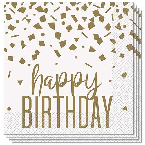 Confetti Gold Birthday Luncheon Napkins 33cm 2Ply - Pack of 16