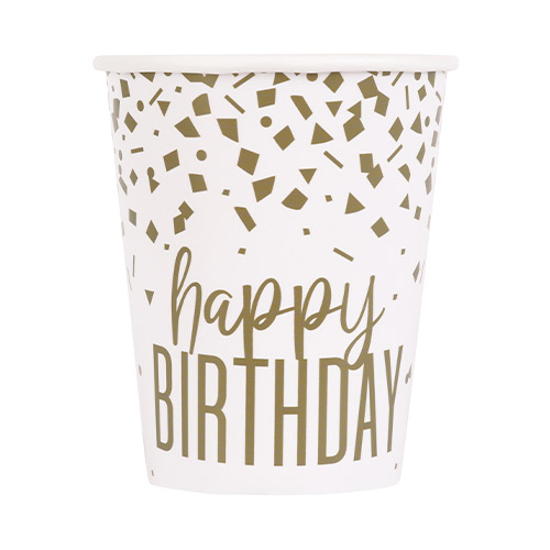 Confetti Gold Birthday Paper Cups 270ml - Pack of 8