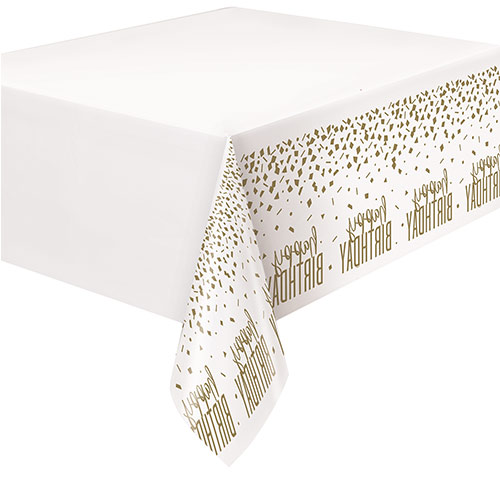 Confetti Gold Birthday Plastic Tablecover 213cm x 137cm