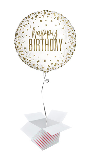 Confetti Gold Birthday Round Foil Helium Balloon - Inflated Balloon in a Box Product Image