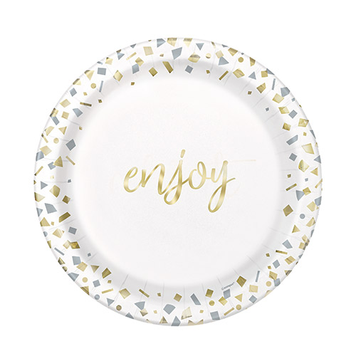 Confetti Gold Enjoy Round Paper Plates 17cm - Pack of 10