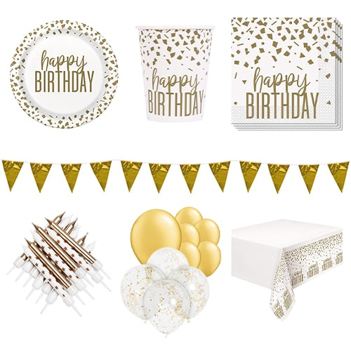 Confetti Gold Birthday 16 Person Deluxe Party Pack Product Image