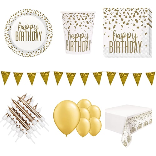 Confetti Gold Birthday 8 Person Deluxe Party Pack Product Image
