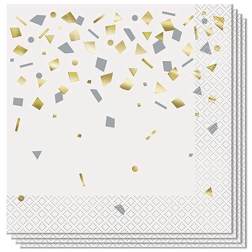 Confetti Gold Celebrate Foil Stamped Luncheon Napkins 33cm 2Ply - Pack of 20 Product Image