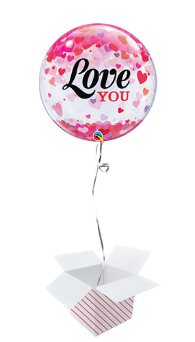 Confetti Hearts Love You Valentine's Day Bubble Helium Qualatex Balloon - Inflated Balloon in a Box Product Image