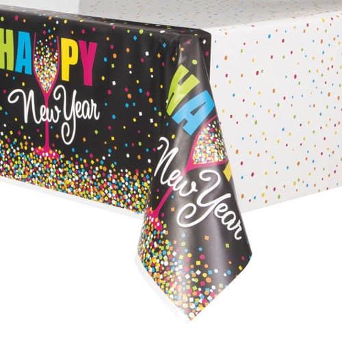 Confetti New Year Plastic Tablecover 213cm x 137cm