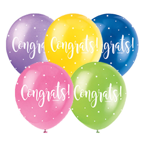 Congrats Biodegradable Assorted Latex Balloons 30cm / 12 in - Pack of 5 Product Image