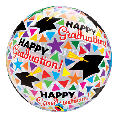 Congrats Grad Caps Bubble Helium Qualatex Balloon 56cm / 22 in Product Gallery Image