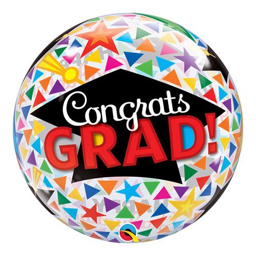 Congrats Grad Caps Bubble Helium Qualatex Balloon 56cm / 22 in Product Image