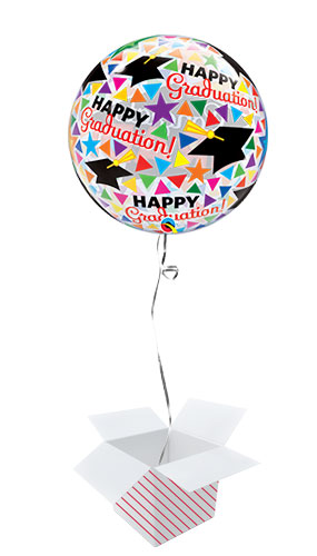 Congrats Grad Caps Bubble Helium Qualatex Balloon - Inflated Balloon in a Box Product Gallery Image