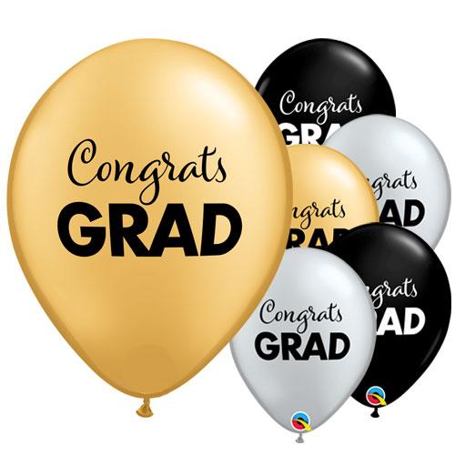 Congrats Grad Metallic Latex Helium Qualatex Balloons 28cm / 11 in - Pack of 25 Product Image
