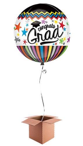 Congrats Grad Orbz Foil Balloon - Inflated Balloon in a Box