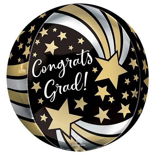 Congrats Grad Shooting Stars Orbz Foil Helium Balloon 38cm / 15 in