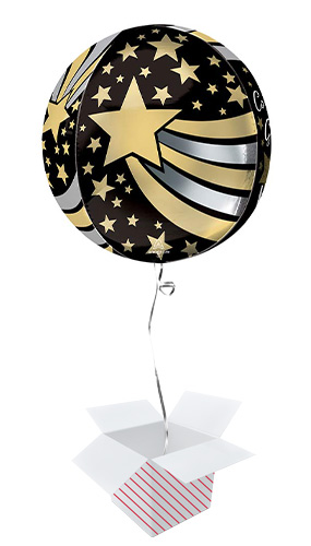 Congrats Grad Shooting Stars Orbz Foil Helium Balloon - Inflated Balloon in a Box Product Gallery Image