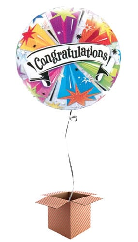 Congratulations Blast Bubble Helium Qualatex Balloon - Inflated Balloon in a Box