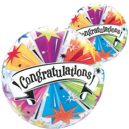 Congratulations Blast Bubble Helium Qualatex Balloon 56cm / 22 in Product Image