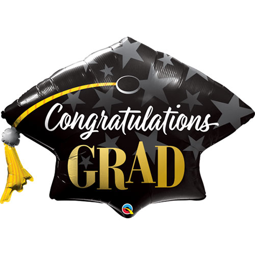 Congratulations Grad Hat Helium Foil Giant Qualatex Balloon 104cm / 41  in Product Image