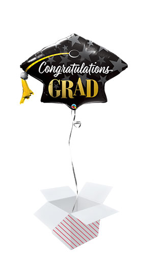 Congratulations Grad Hat Helium Foil Giant Qualatex Balloon - Inflated Balloon in a Box Product Image
