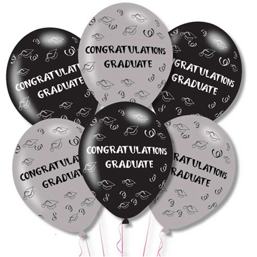 Congratulations Graduate Latex Helium Balloons 28cm / 11Inch - Pack of 6 Product Image