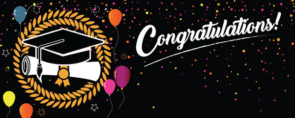 Congratulations Graduation Black With Coloured Balloons Design Medium Personalised Banner - 6ft x 2.25ft