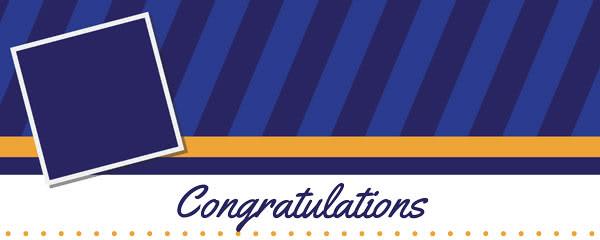 Congratulations Graduation Blue Stripes Design Medium Personalised Banner - 6ft x 2.25ft