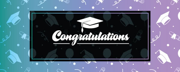 Congratulations Graduation Hats Design Small Personalised Banner - 4ft x 2ft