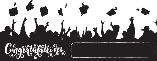 Congratulations Graduation Hats In The Air Design Small Personalised Banner - 4ft x 2ft